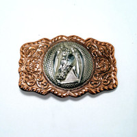 """Copper and Silver Belt Buckle Bell Trading Horse Buckle For 1 1/2"""" Belt Cowboy Country Western Southwest Native Style Women Child's Buckle"""