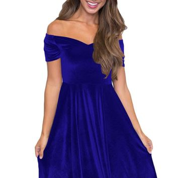 Blue Velvet Off Shoulder Pleated Skater Dress