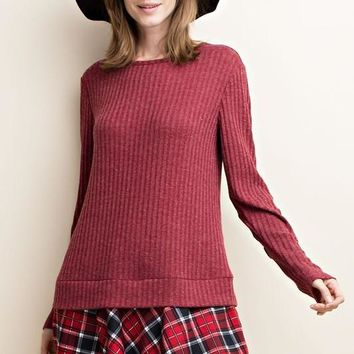 ribbed long sleeve tunic with elbow patches and flannel ruffle