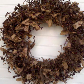 Wreath-Country-Farmhouse-Cottage-Primitive-Rag & Berry 18  Inches Door or Wall Wreath