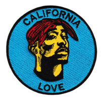 "Cool Tupac ""California Love"" Iron On Patch 9cm"
