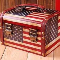 Retro Vintage USA Flag Home Storage Container Box Jewelry Case Wood PU Leather = 1697165892