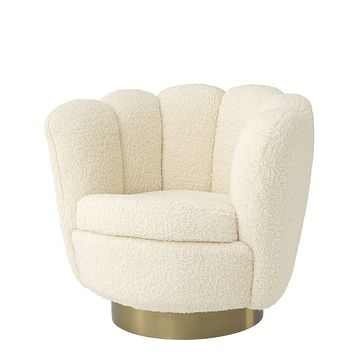 Cream Scalloped Swivel Chair | Eichholtz Mirage