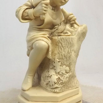Mid Century Resin Sculpture, G Ruggeri Wood Carver Figurine, Italian Art Statue on Marble Base