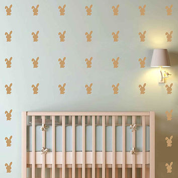 kik3019 Set of 152 2 x 3 bunny Decals bunny Wall Decal Set  Nursery Decals Nursery Decor Mural home decor animals Kids Bedroom Decal