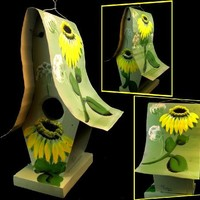 Artist Signed -Hand Painted Outdoor Mountain Sunflowers with Wildflowers Country Outdoor Hanging Bir