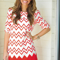 Died And Gone To Heaven Chevron Dress: Red | Hope's