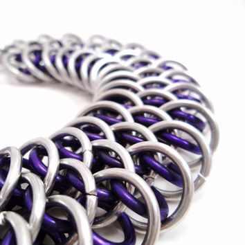 Dragonhide Chainmail Bracelet in Purple by SerenityInChains