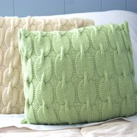 Bright Green Knitted Pillow / Cabled Pillow Sham / Chain Link Pattern - 18x18 Ready to Ship