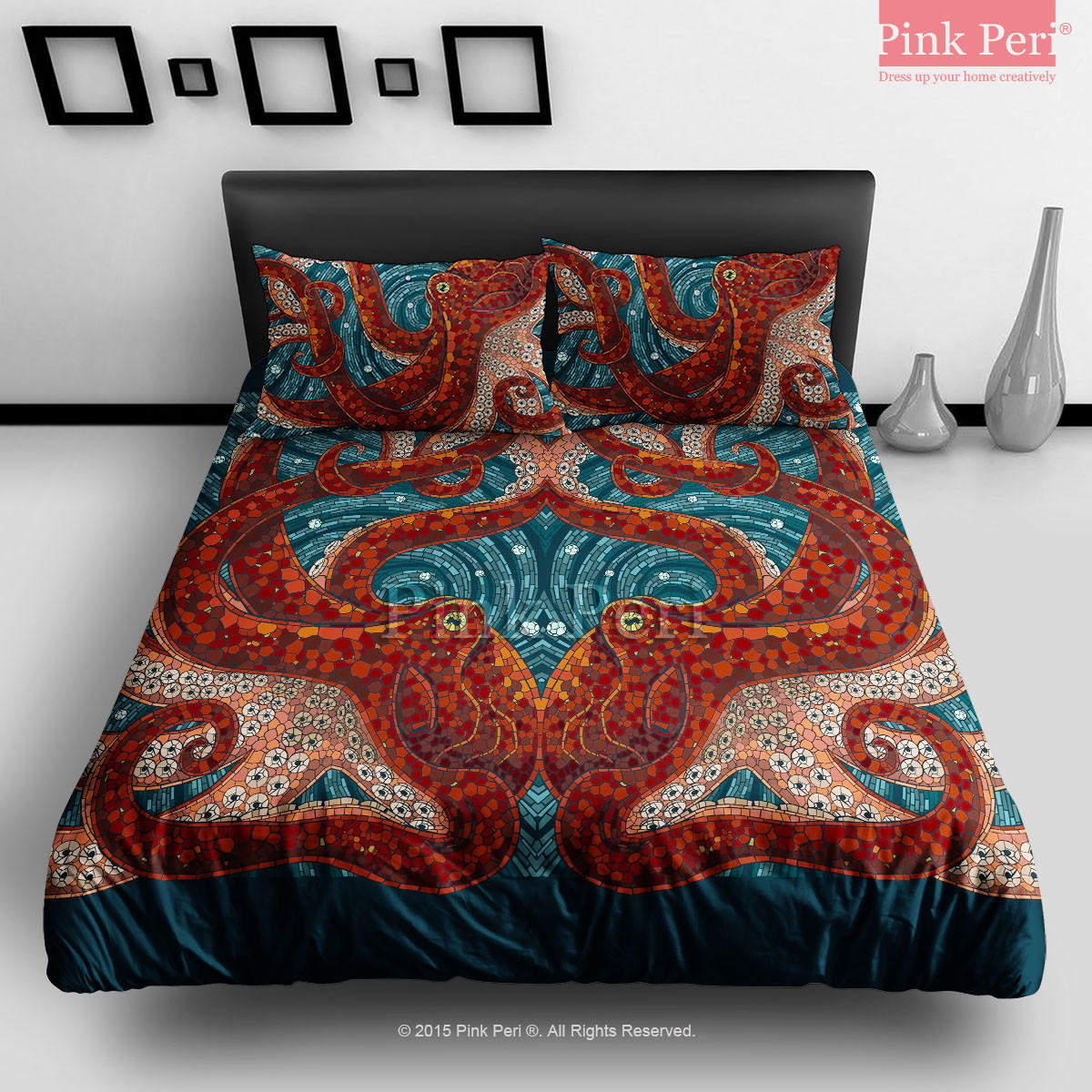 Mosaic art octopus bedding sets home from pink peri for Living room quilt cover