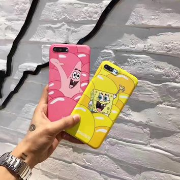 SS SpongeBob series Cartoon Couple Case Cover For iPhone  6 6S Plus case,TPU Soft shell for iPhone 7 Plus case