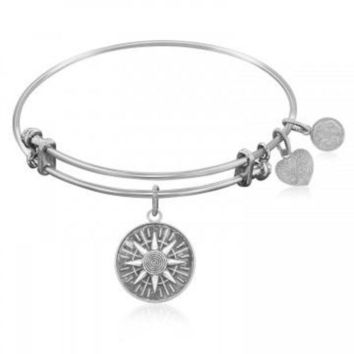 ac NOVQ2A Expandable Bangle in White Tone Brass with Compass Personal Direction Symbol