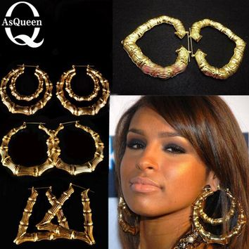 Hot Selling Celebrity Large Basketball Wives Earring Heart Star Bamboo Big Earrings For Women Fashion Jewelry
