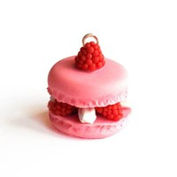 French Macaron Necklace, Pink Raspberry Macaron Charm, Miniature Food Jewelry