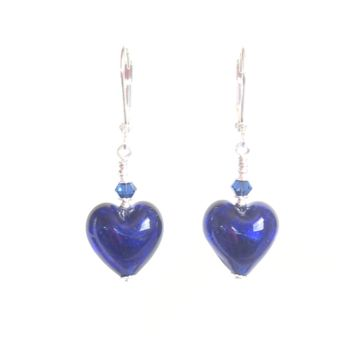 Cobalt Blue Murano Glass Heart Sterling Silver Earrings, Venetian Jewelry