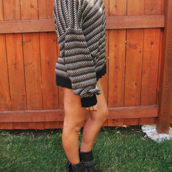 vintage aztec southwestern oversized slouchy sweater. Claiborne. back to school. slouchy pullover. oversized grandpa sweater