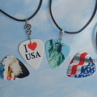 Patriotic Necklaces - Eagle, Waving Flag, I Love USA, Statue of Liberty - American Guitar Pick Jewelry - Custom Size & Style