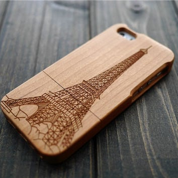 Cherry Wood Eiffel Tower iPhone 5 5s Case Cover , Real Wood iPhone 5 5s Case Holder , Wood Phone Case for iPhone 5 5s Christmas Gift for her