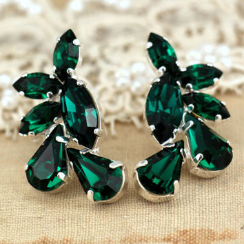 Statement Silver Emerald dark Green Swarovski Crystal earring bridal classic earrings,white wedding- Silver  plating Swarovski rhinestones.