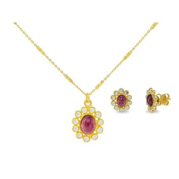 Red Tourmaline Crystals Necklace And Earrings Jewelry Set
