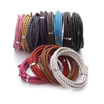 XINYAO 2m/lot Dia 3mm 4mm Genuine Braided Leather Cord Round Leather Rope Thread For DIY Necklace Bracelet Jewelry Making F1104