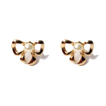 """Dainty Doll Collection """"Dainty Bow"""" Gold Bow Earrings with Pearl Center - 11mm"""