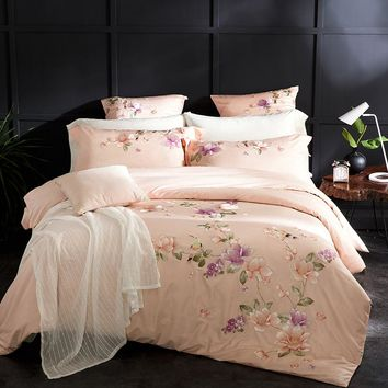 Hot Embroidered Luxury Royal Bedding Set 60S Egyptian Cotton Silky 4/6pcs King Queen Size Boho Bed Set Duvet Cover Bed sheet set