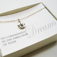 Compass Necklace, 14k gold filled - Graduation Gift, Graduate Gift, Class of 2013, Graduation necklace