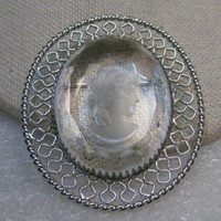 """Vintage Clear Reverse Cameo Brooch,  Filigree Frame, Silver Tone, 1960's, 2.25"""""""