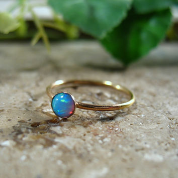 Gold Stacking Ring Blue Fire Opal Gemstone