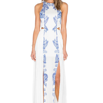 THE JETSET DIARIES Ruffian Maxi Dress in White & Majorelle