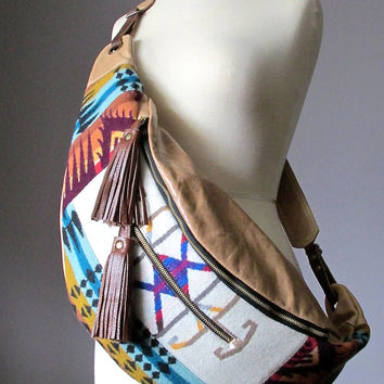 Bohemian cross body bag, Leather bag, Wool bag, Hobo shoulder bag, Wide strap slouchy bag, Leather handbag, cotton lined leather bag