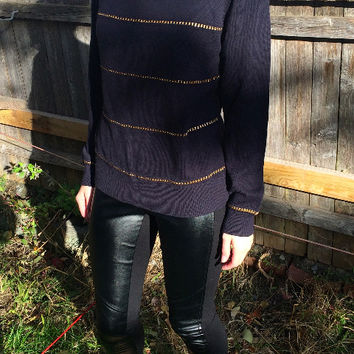 Crew Neck Sweater With Gold Chain Trim (Michael Michael Kors)