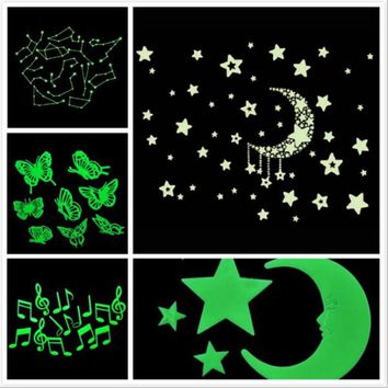 Amazing Fluorescence Glow in Dark Luminous Cartoon Moon Star Nursery Baby Room Home Decor Wall Stickers for Kids Rooms Decal