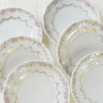 On Sale Gorgeous Antique C.T. Bavaria Bread and Butter Plates, Set of 6, Tea Party, Small, Wedding,Salad Plates, Cottage Style, French Shabb