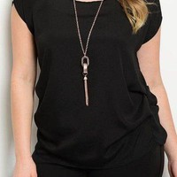Black Plus top with necklace