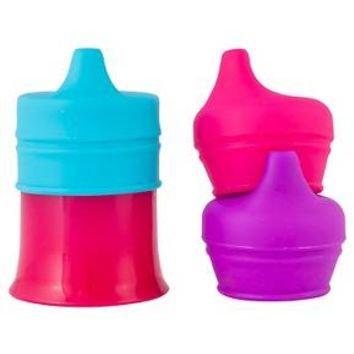 Boon SNUG SPOUT with Cup Sippy Cups, Pink/Purple/Blue