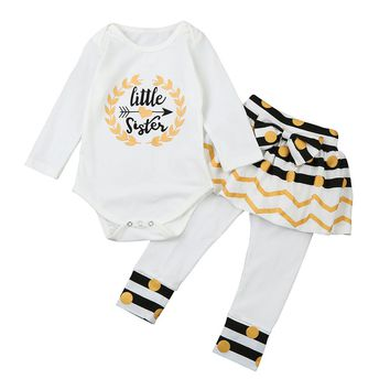 """Baby girl outfit set """"little sister"""""""