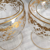 Vintage Crystal Glassware/Pair Caviar Serving Bowls/Saint Louis/French Massenet Gold Pattern/22 Kt Engraved Gold Enamel/Wedding Gift