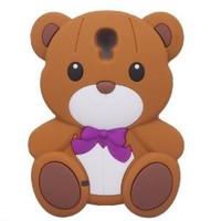 HJX i9500 S4 3D Brown Teddy Bear Hybrid Case Cover for Samsung Galaxy S4 SIV I9500 + Gift 1pcs Insect Mosquito Repellent Wrist Bands bracelet
