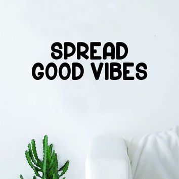 Spread Good Vibes Quote Decal Sticker Wall Vinyl Art Decor Bedroom Living Room Namaste Yoga Mandala Om Meditate Zen Buddha Lotus Positive Happy Smile