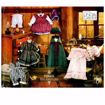 "VOGUE DOLL CLOTHES Pattern 18"" Doll Clothes Dress Bloomers Nightgown Cap Cape Hat Vogue 8337 Early American Girl Doll Craft Sewing Patterns"
