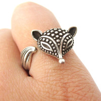 Textured Baby Fox Shaped Animal Ring in Silver | US Size 6 to 8