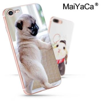 MaiYaCa On Sale Luxury Cool   Pocket Dog Phone Accessories Case For iPhone 8 plus Case Fuuny BullDog Pug silicone phone case