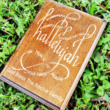 Personalized Christian Family Last Name Engraved Wood Sign // Wall Art Decal // Hallelujah