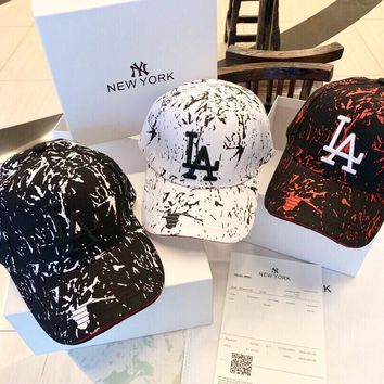 """Los Angeles Dodgers"" Unisex Fashion Edgy Ink Jet Embroidery Letter Baseball Cap Couple Peaked Cap Sun Hat"
