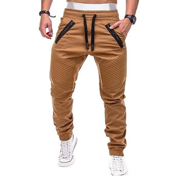 Vertvie 2018 Pleated Joggers Sweatpants Drawstring Men Pencil Pants Trousers Male Pocketed Harem Pant Cargo Hip Hop Running Pant