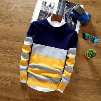 2017 New Autumn Fashion Men Cashmere Sweater Long Sleeve Slim Fit Knitting Mens Striped Sweaters And Pullovers