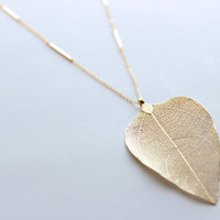 Gold Plated Real Leaf Pendant on 26inch Matte Gold Chain with Gold Stick Connectors