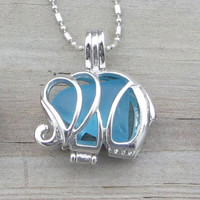 Caribbean Blue Sea Glass  Elephant Necklace Locket Frosted